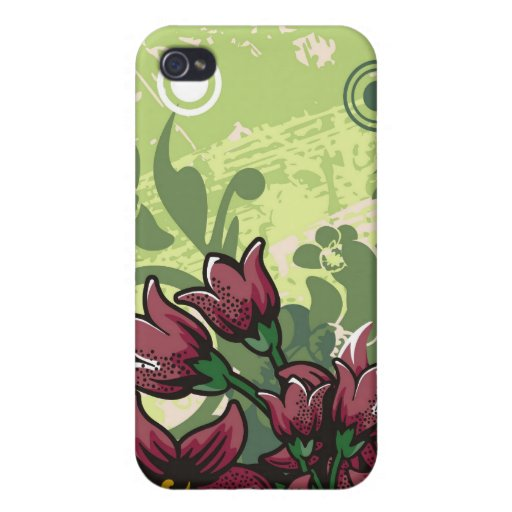 Red Maroon Lily Floral on a Grunge Green iPhone 4 Cases For iPhone 4