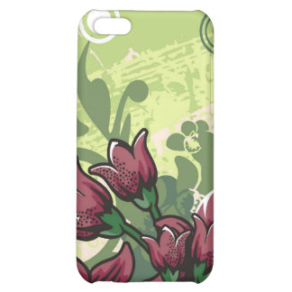 Red Maroon Lily Floral on a Grunge Green iPhone 4 Cover For iPhone 5C