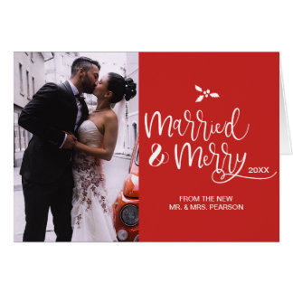 Red, Married and Merry, Christmas, Photo Card