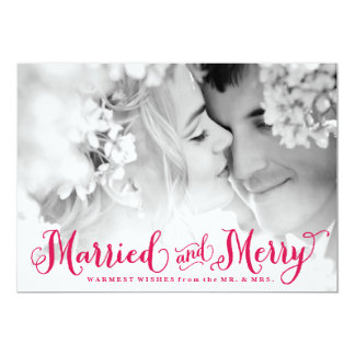 Red Married and Merry Newlywed Christmas Card 13 Cm X 18 Cm Invitation Card