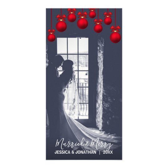 Red MARRIED & MERRY First Christmas | Add PHOTO Card