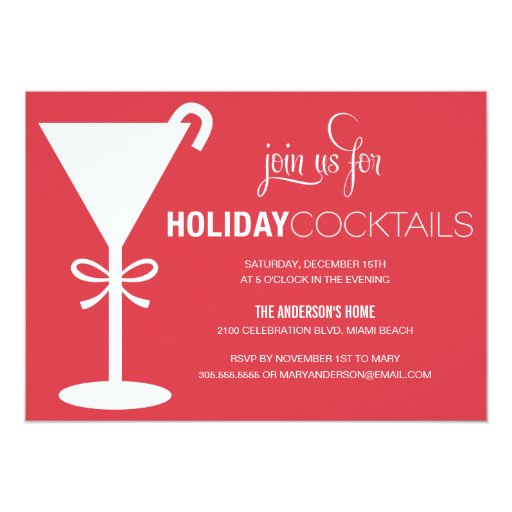 RED MARTINI | HOLIDAY COCKTAIL PARTY INVITE 13 CM X 18 CM INVITATION CARD