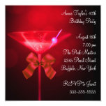 Red Martini Womans Any Number Birthday Party Personalised Invitations