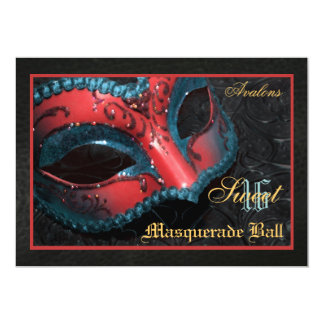 Red  Mask Masquerade Sweet 16 Party Invitation