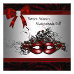 Red Mask Sweet 16 Masquerade Party Personalized Announcement