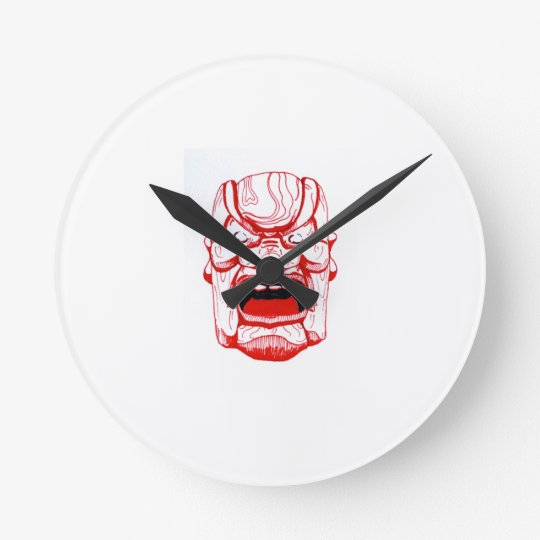 Red Mask Wall Clock