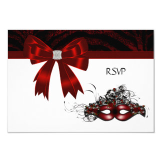 Red Masquerade Party RSVP Invitation Card