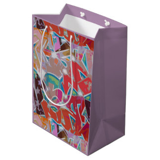 Red Mauve Graffiti Design Gift Bag Medium Gift Bag