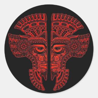 Red Mayan Twins Mask Illusion on Black Classic Round Sticker