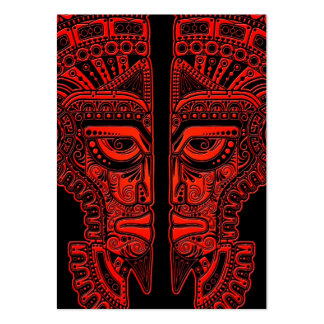 Red Mayan Twins Mask Illusion on Black Pack Of Chubby Business Cards