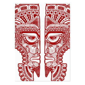 Red Mayan Twins Mask Illusion on White Business Cards