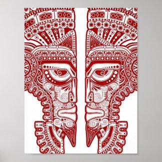 Red Mayan Twins Mask Illusion on White Print