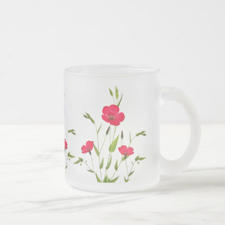 red meadow flowers frosted glass coffee mug