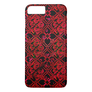 Red Medieval Floral Grunge Design iPhone 7 Plus Case