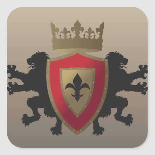 Red Medieval Lion Heraldry Stickers