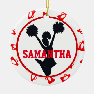 Red Megaphones and Cheerleader Personalized Christmas Ornament