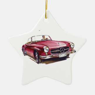 Red Mercedes benzsl300  cabriolet oldtimer Christmas Ornament