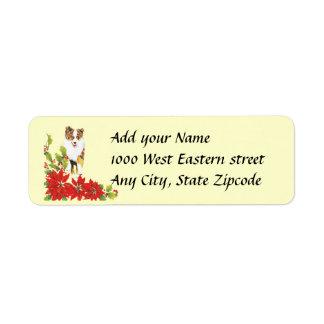 Red Merle Aussie and Poinsetta Return Address Label