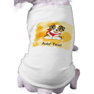 Red Merle Aussie Puppy on Gold Leaves Shirt