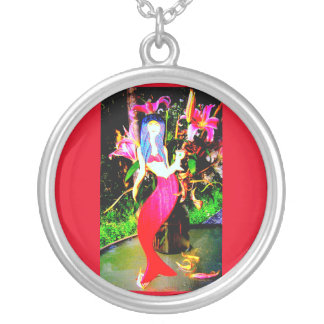 red mermaid partying silver plated necklace
