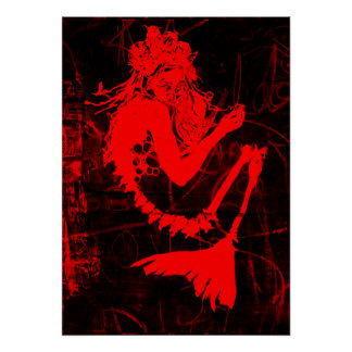 Red Mermaid Skeleton Poster