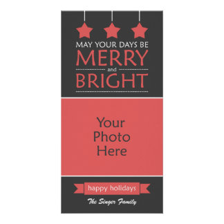 Red Merry and Bright Stars Holiday Photo Card