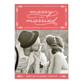 Red Merry and Married Newlywed Holiday Photo Card 13 Cm X 18 Cm Invitation Card
