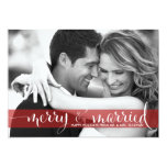 Red Merry and Married Script Holiday Photo Card Personalised Invites