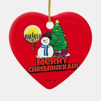 Red Merry Chrismukkah with Snowman and Menorah Ceramic Heart Decoration