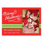Red Merry Christmas 2 Photo Family Card Custom Invite
