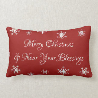 Red Merry Christmas and New Year Blessings Pillow