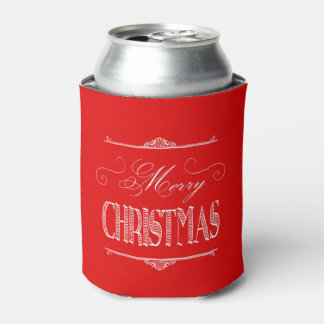 Red Merry Christmas Can Cooler Koozie