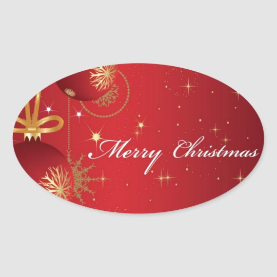 Red Merry Christmas Card design Oval Sticker