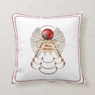 Red Merry Christmas - Filigree Christmas Angel Throw Pillow