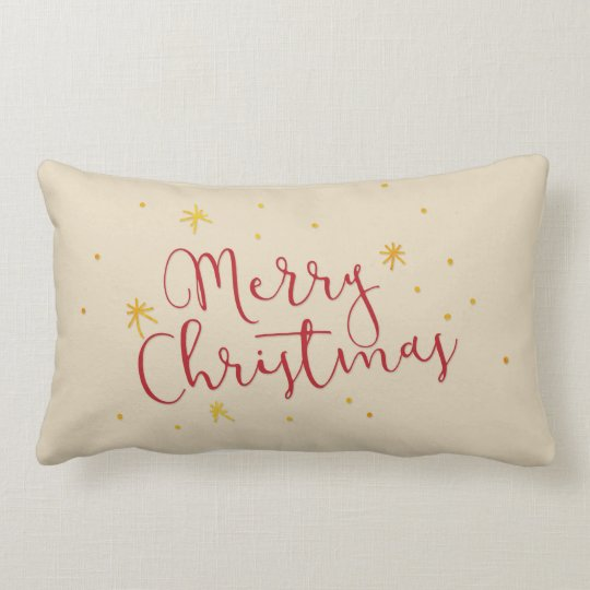 Red Merry Christmas Hand Lettered Script Gold Star Lumbar Cushion