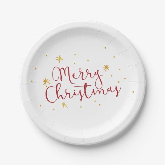 Red Merry Christmas Hand Lettered Script Gold Star Paper Plate
