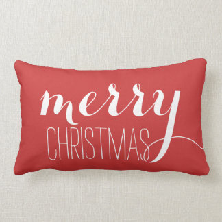 Red Merry Christmas | Holiday Throw Lumbar Cushion
