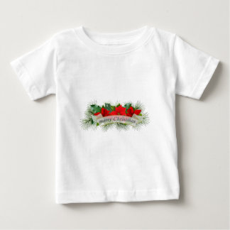 Red Merry Christmas poinsettia Baby T-Shirt