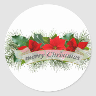 Red Merry Christmas poinsettia Classic Round Sticker