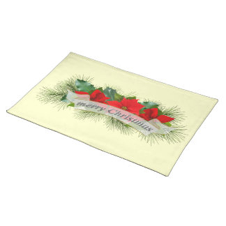 Red Merry Christmas poinsettia Placemat