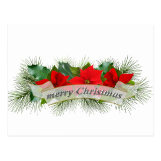 Red Merry Christmas poinsettia Post Card