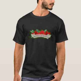 Red Merry Christmas poinsettia T-Shirt