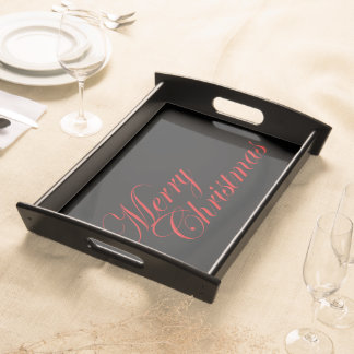 Red Merry Christmas Serving Tray