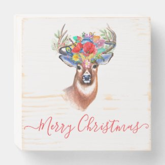 Red Merry Christmas Woodland Deer Graphic Wooden Box Sign