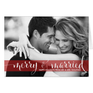 Red Merry & Married Calligraphy Holiday Photo Card