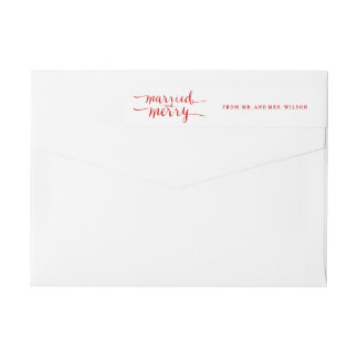 Red Merry & Married | Holiday Wraparound Label