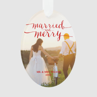 Red MERRY & MARRIED | PHOTO HOLIDAY ORNAMENT