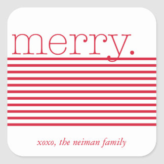 Red Merry Type Holiday Sticker