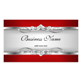 Red Metal Chrome Look  Elegant White Style Silver Business Card Template