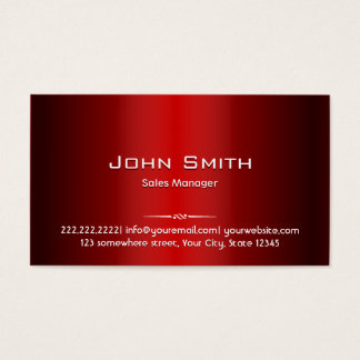 Red Metal Sales Manager Business Card